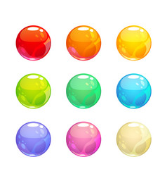 Colorful glossy bubbles set vector