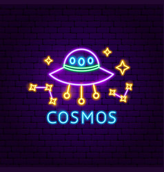 cosmos neon label vector image