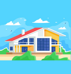 cottage against blue sky and juicy green grass vector image