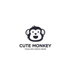 Creative monkey for cartoon animals logo design vector