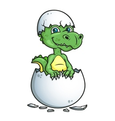 Cute dinosaur or dragon in an egg shell vector image