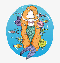Cute mermaid woman with fishes and snails vector