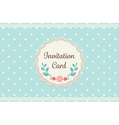 Cute pastel blue polka dot with lace elegant vector