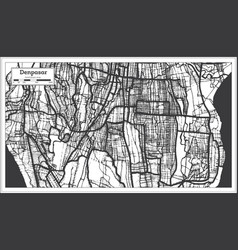 Denpasar indonesia city map in black and white vector