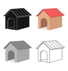 Doghouse icon in cartoon style for web vector