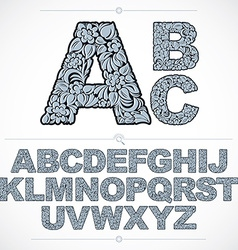 Ecology style blue flowery font typeset made using vector