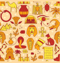 Egypt seamless pattern in colored line style vector