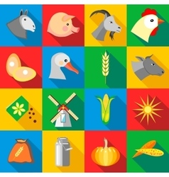 Farm icons set flat style vector image