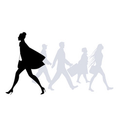 fashion woman walking in the street people vector image