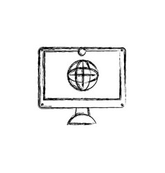 figure screen electronic equipment with global vector image