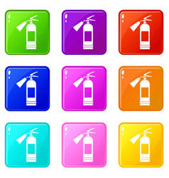 fire extinguisher set 9 vector image