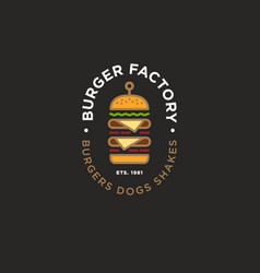 Flat logo burger factory restaurant emblem vector