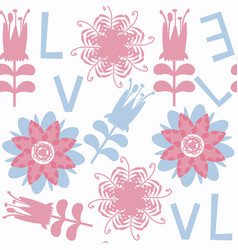 flower and letters seamless pattern it is located vector image