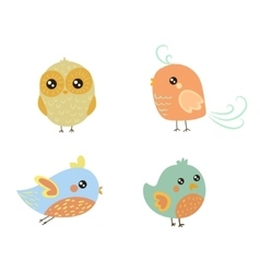 Four Cute Bird Chicks Set vector