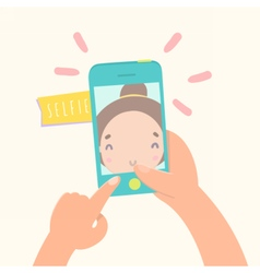 Girl making selfie with her smartphone vector image