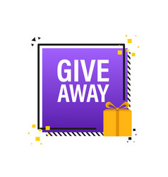 Giveaway logo template for social media post vector