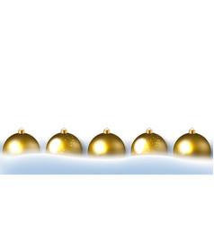 golden christmas balls border and snow vector image