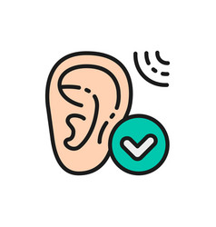 Good hearing hearing test flat color line icon vector