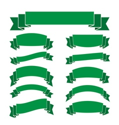 Green banners set blank decoration ribbons vector image