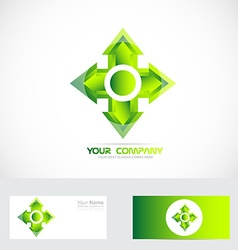 Green cross arrow head logo vector