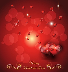greeting card with two hearts valentines day vector image