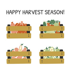 hand drawn card with fruits and vegetables vector image