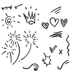 Hand drawn collection design element doodle vector
