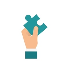 Hand holding a puzzle vector