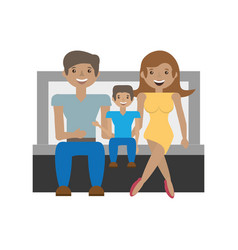 happy family love members sitting sofa vector image
