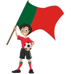 Happy soccer fan holds portugal flag vector