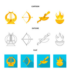 Isolated object deity and antique icon set vector