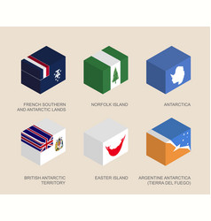 isometric 3d boxes with flags vector image