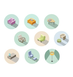 isometric set of modern living room furniture home vector image