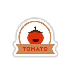 label icon on design sticker collection tomato vector image