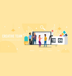 Landing page promoting professional creative team vector