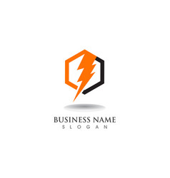 Lightning thunderbolt electricity logo design vector