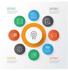 management icons set with research plan team vector image