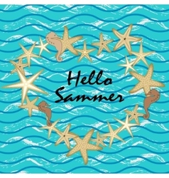 Marine theme Starfish on a blue background vector image