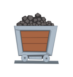 Mining wooden wagon on railway vector