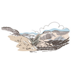 mountains rock view sketch landscape line skyline vector image