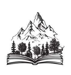 Open book with forest and mountains vector