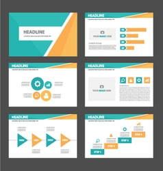 Orange and green presentation templates Set vector