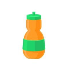Orange plastic reusable water bottle drink bottle vector