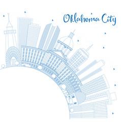 outline oklahoma city skyline with blue buildings vector image