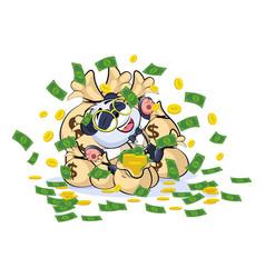 panda bear in business suit lies happy vector image