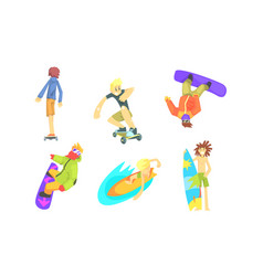 people outdoors activities set snowboarding vector image