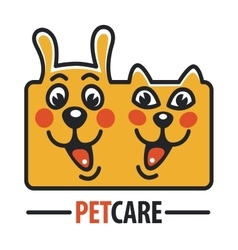 Pet Care Logo with Dog cat vector image