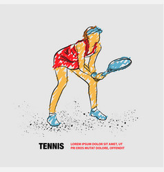 Professional woman tennis player standing ready vector