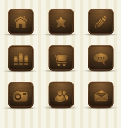 Realistic wooden icons part 1 vector