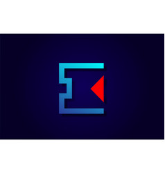 red and blue letter i alphabet logo design icon vector image